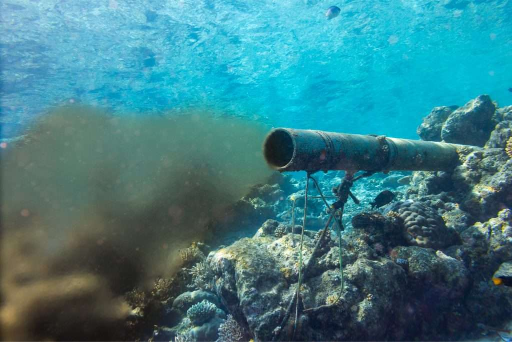 underwater sewage pipe going into the ocean